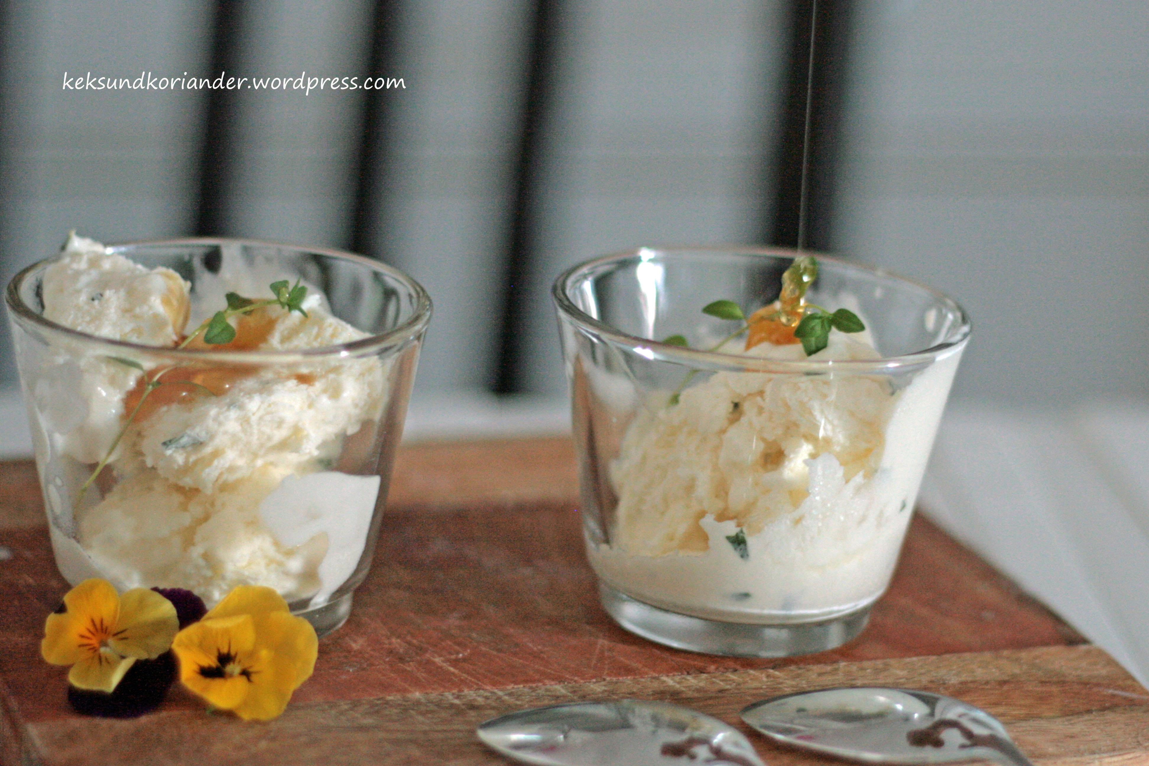Joghurteis mit Thymian und Honig ohne Eismaschine4