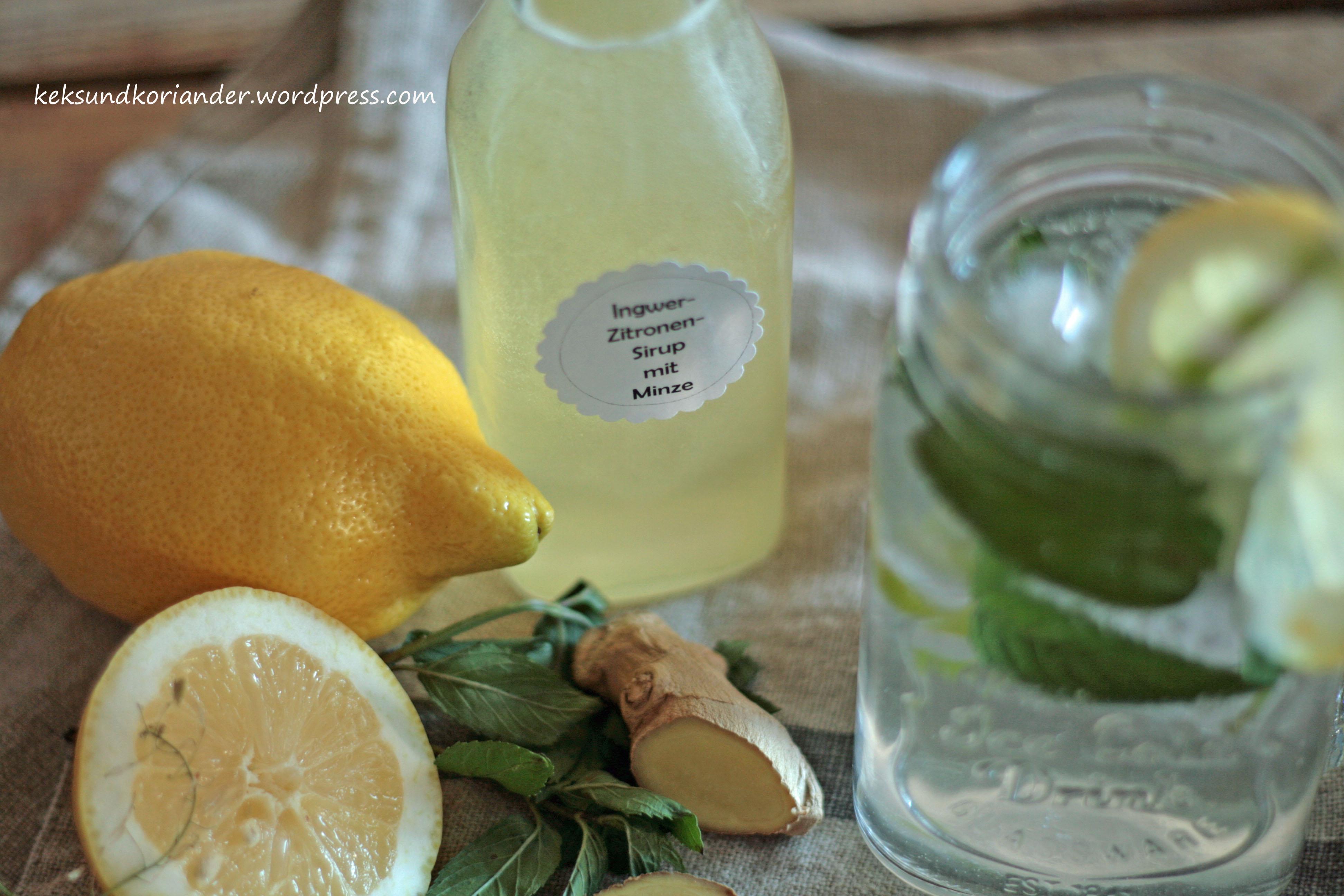 Zitronen-Ingwer-Sirup mit Minze2