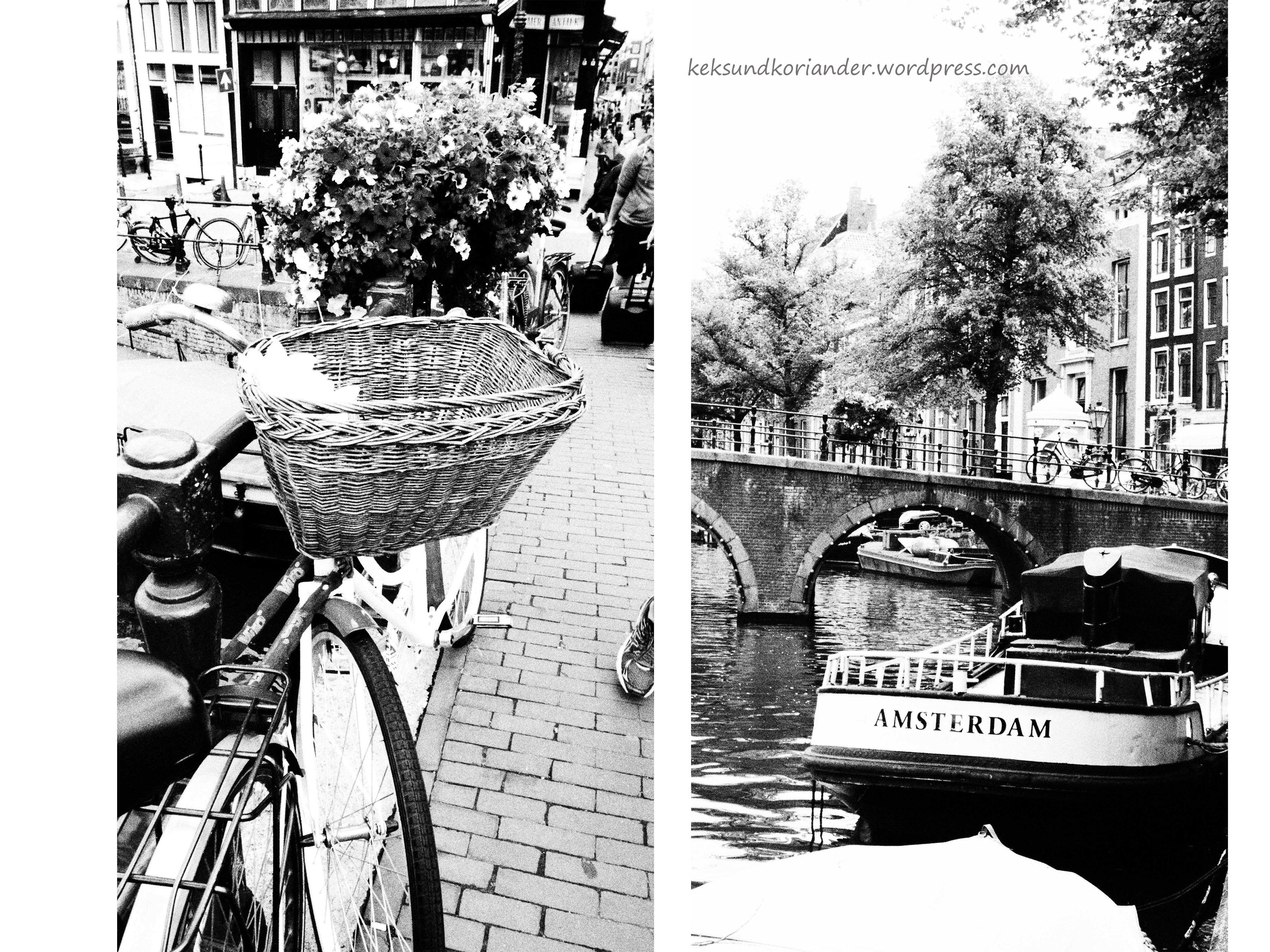 Amsterdam sw Fahrrad mit Blumen Boot Schriftzug