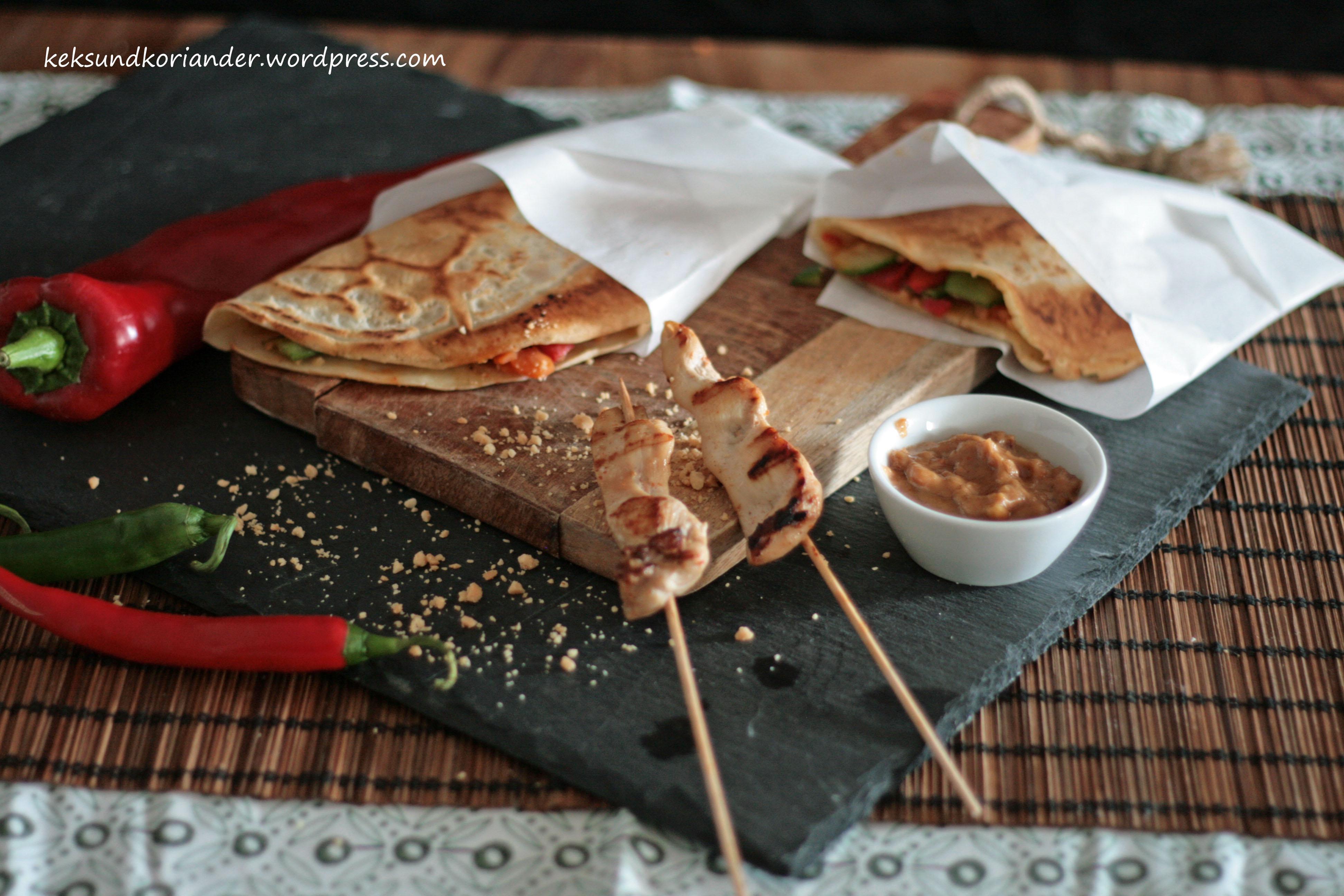 Serabi indonesische Pfannkuchen Gemüse Sambal Oelek 6