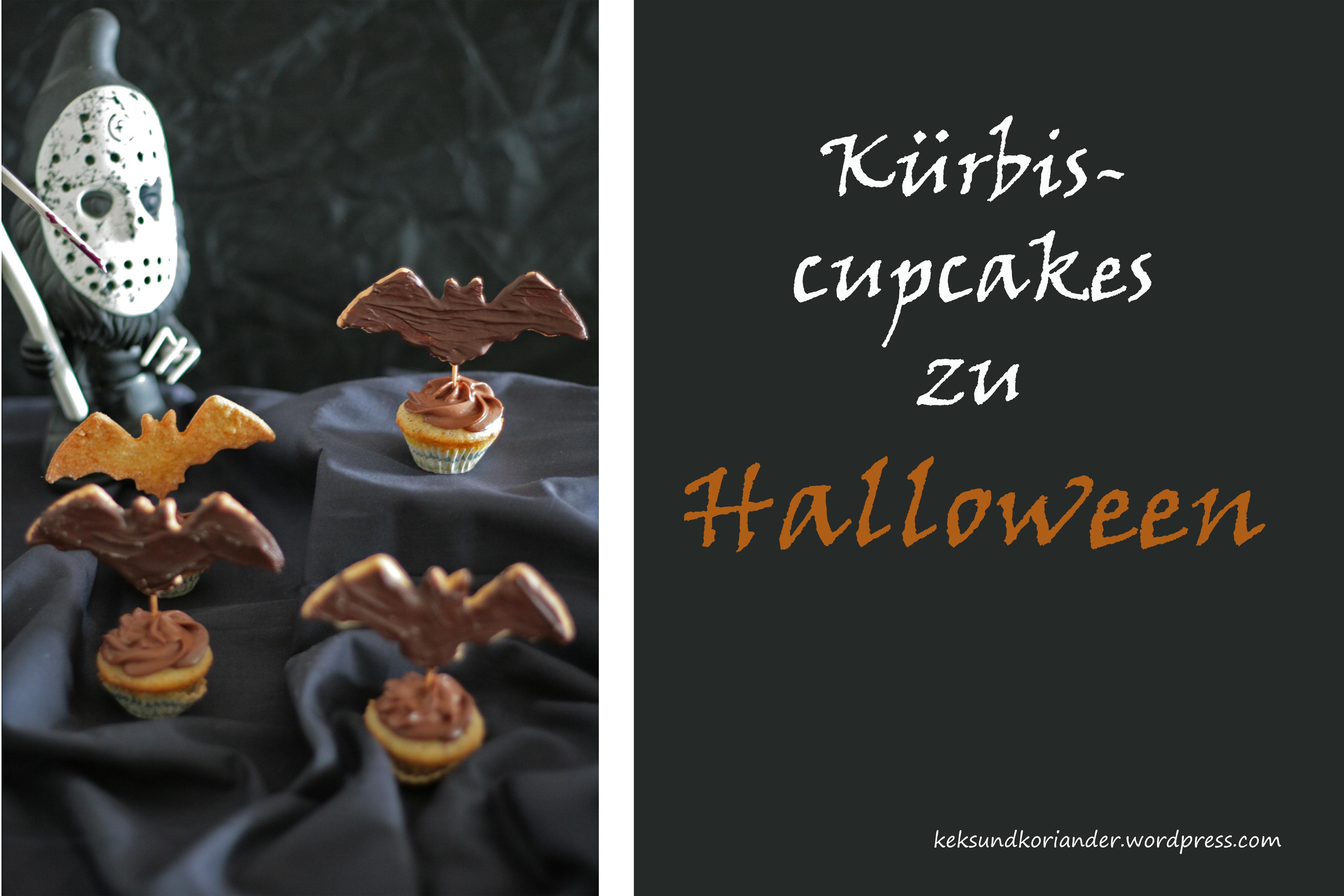 Kürbismuffins mit Fledermauskeks Schokofrosting Halloween2