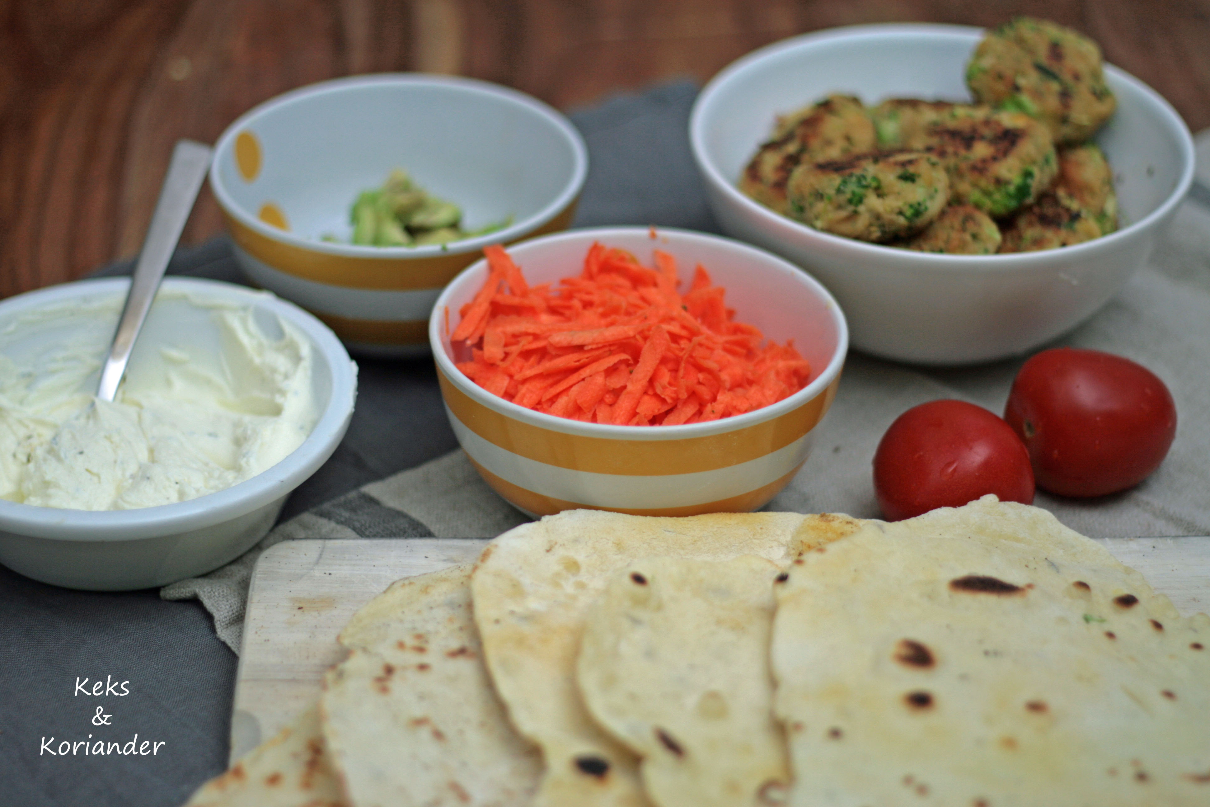 Wraps mit Falafel, Spinat, Karotte, zum Mitnehmen, take away 3