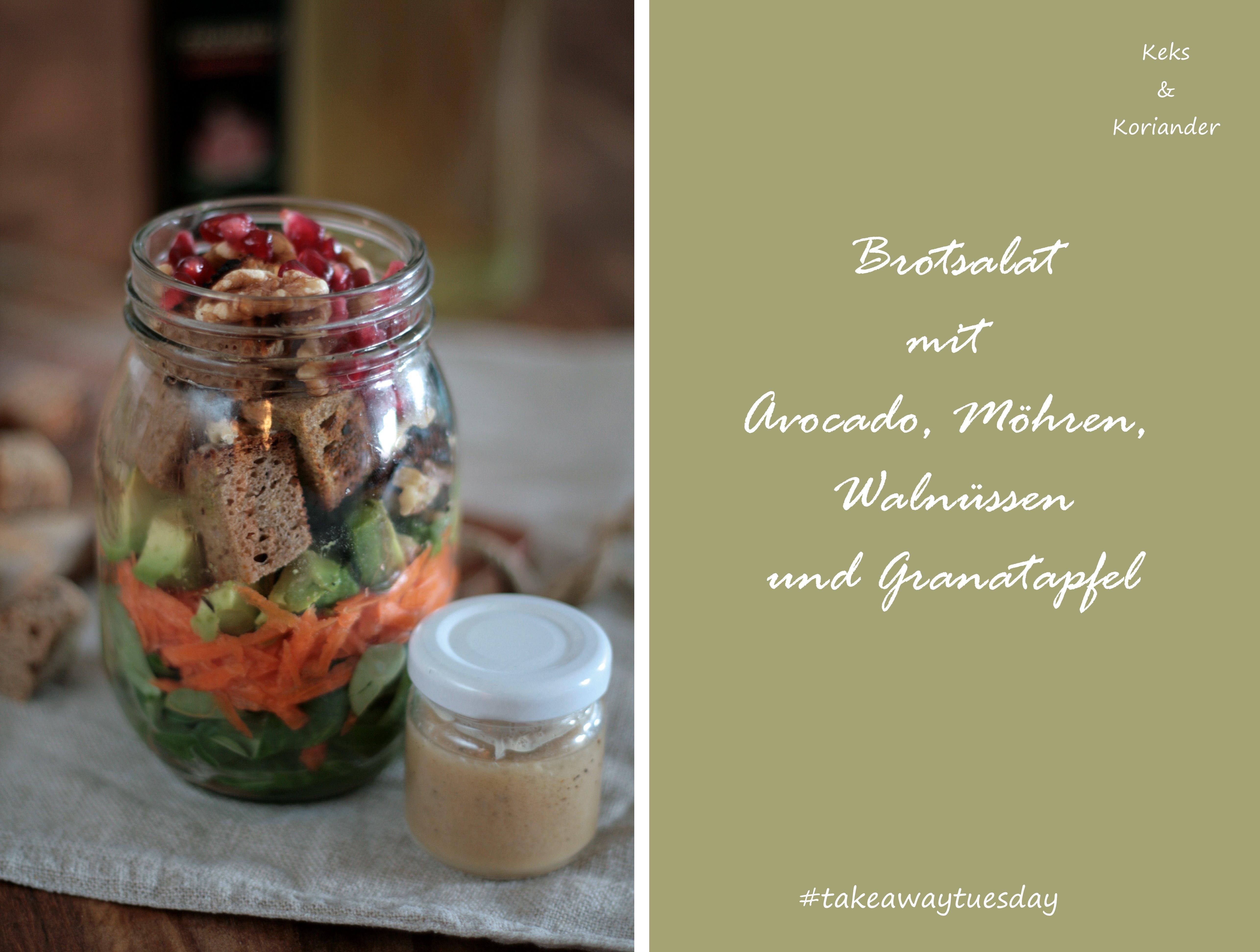 Brotsalat zum Mitnehmen mit Granatapfel, Avocado, Karotte, Feldsalat, Walnüssen 2