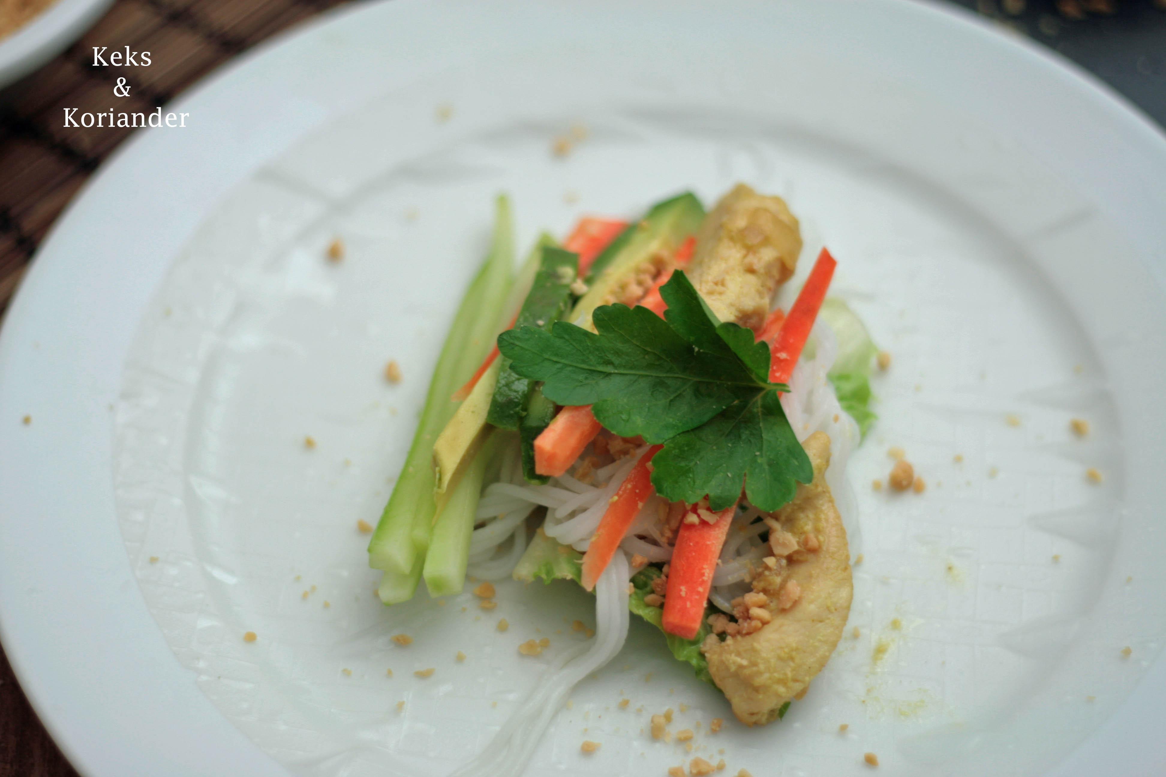 Vietnamesische Sommerrollen mit Sate Hähnchen und Erdnusssauce 3