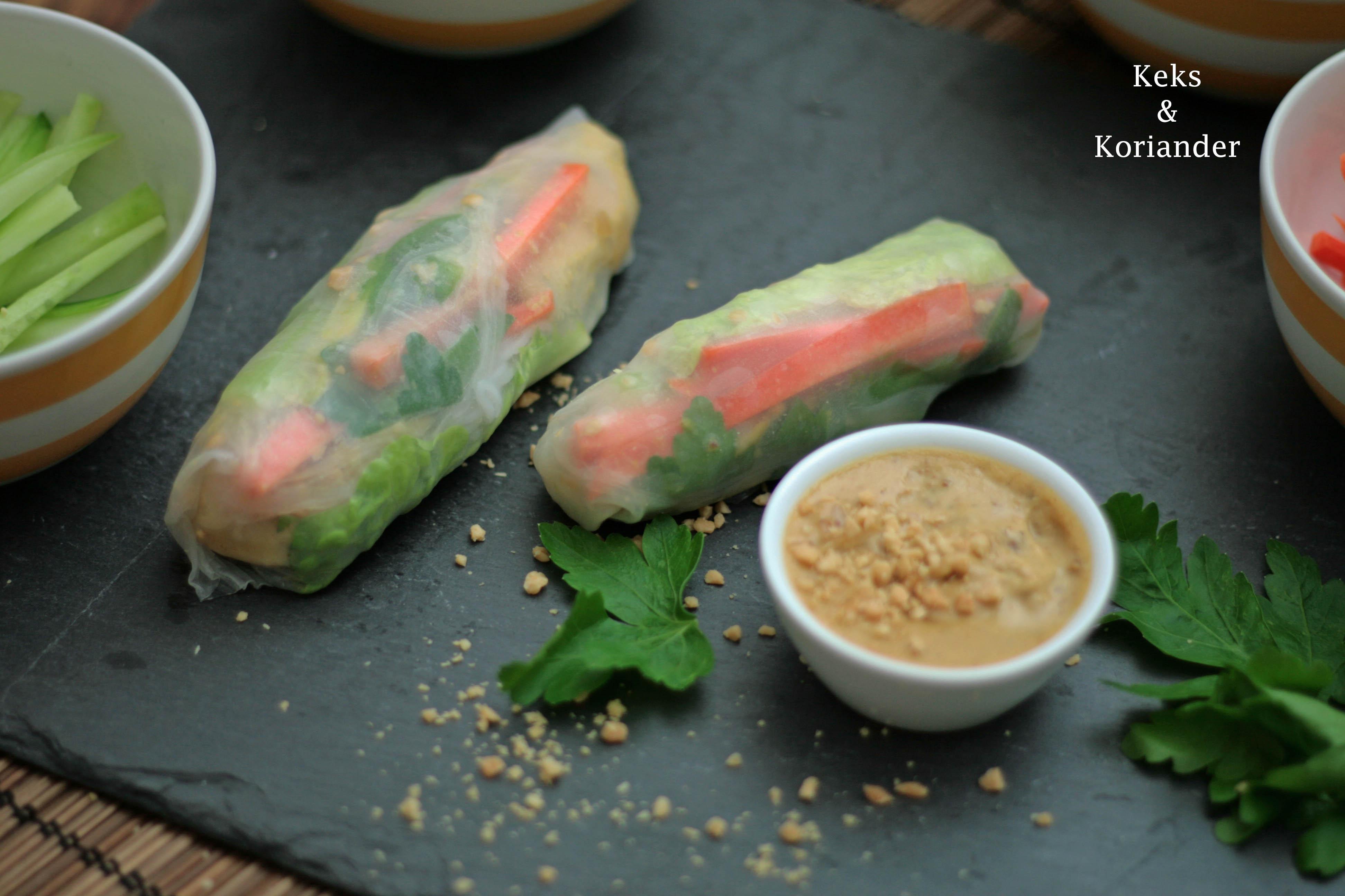 Vietnamesische Sommerrollen mit Sate Hähnchen und Erdnusssauce 4