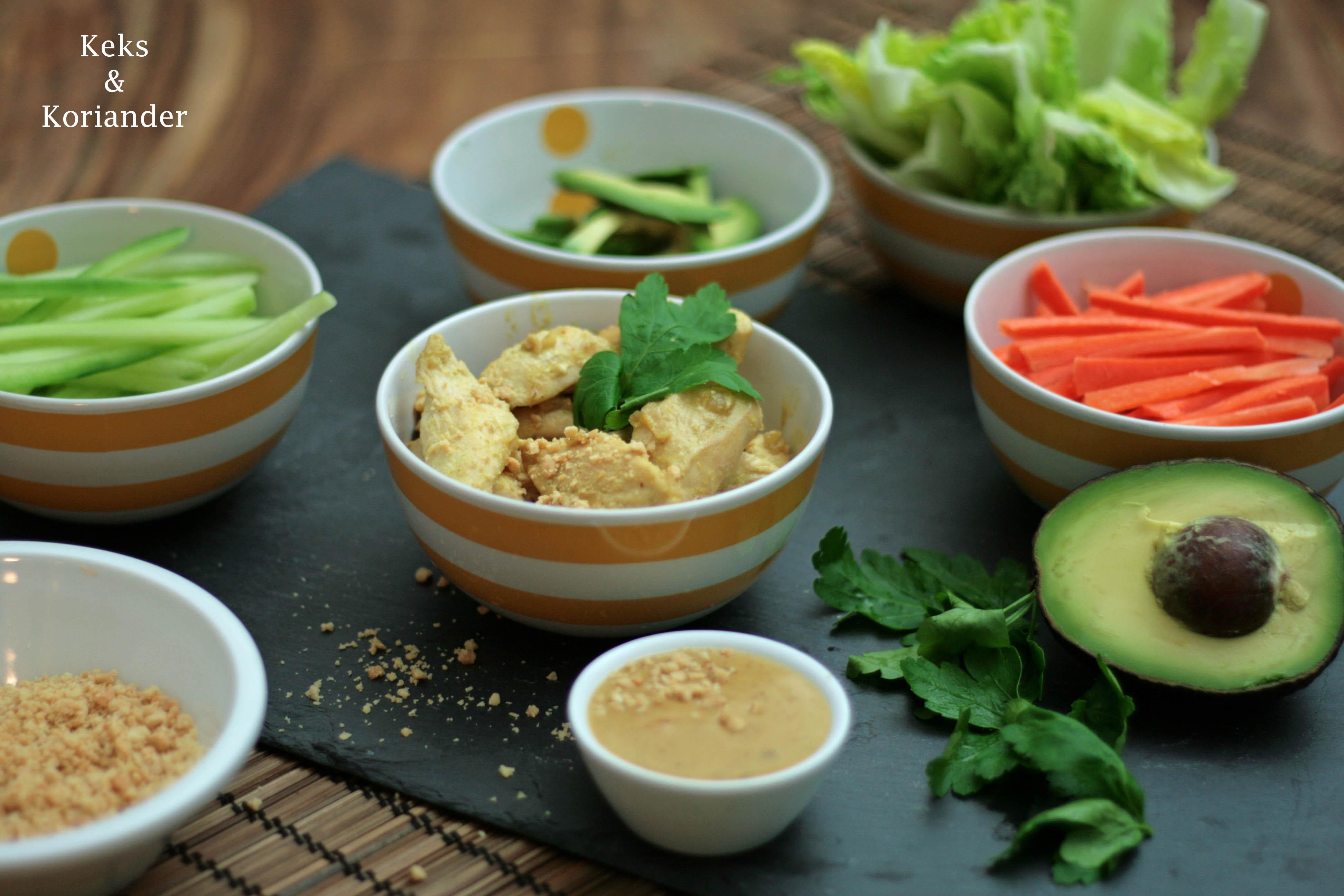 Vietnamesische Sommerrollen mit Sate Hähnchen und Erdnusssauce 5