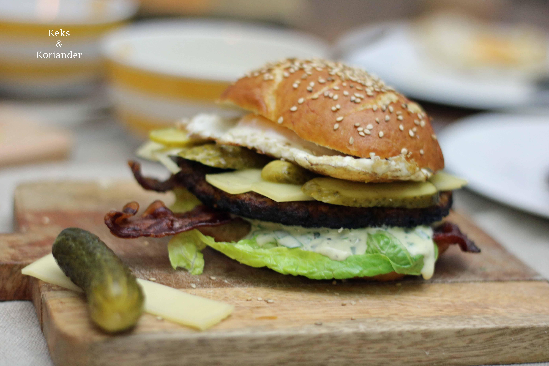 Bayerischer Burger Laugenbuns Ei Bärlauchmayo 2
