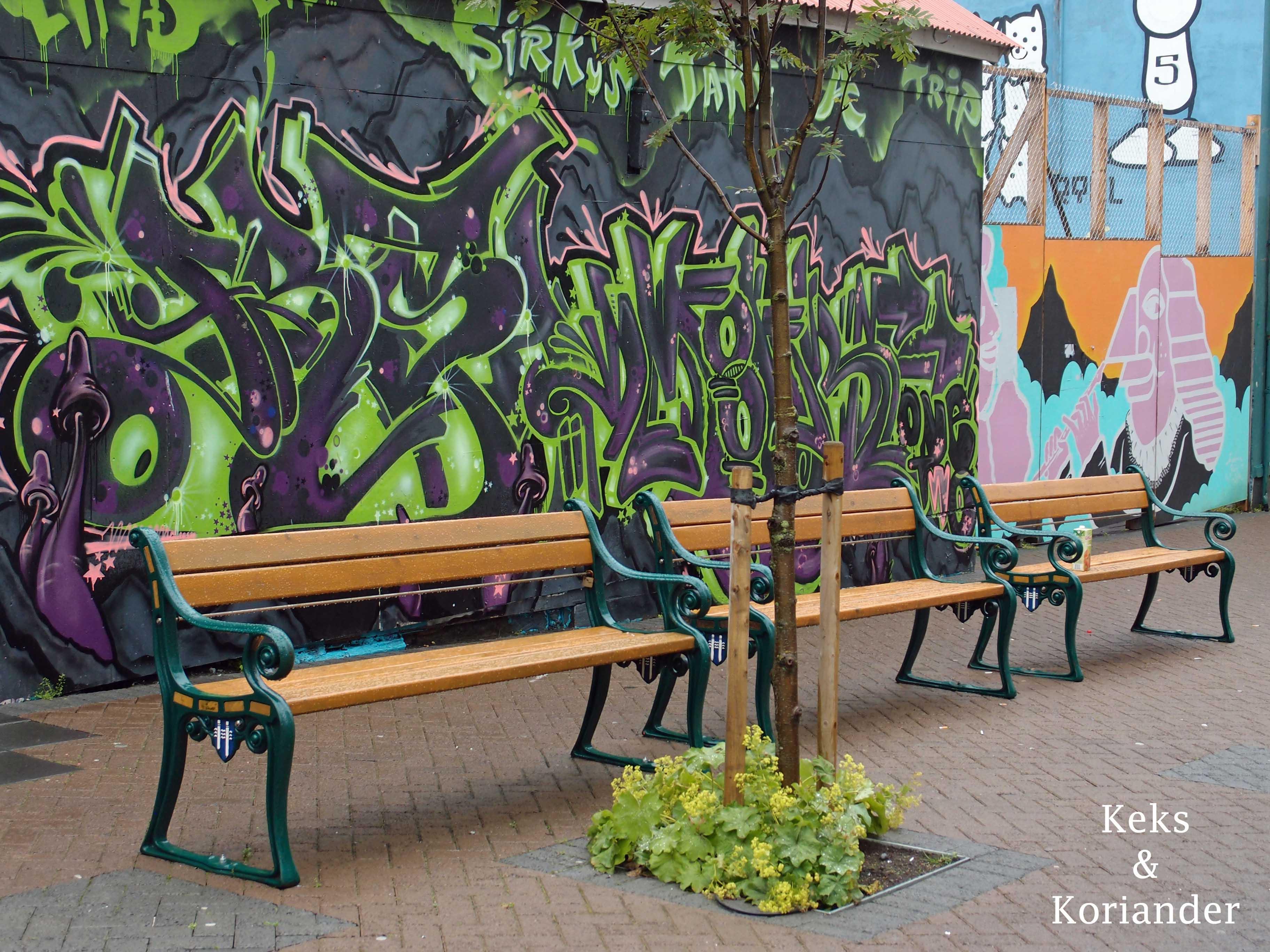 Graffiti Füßgängerzone Reykjavik Island