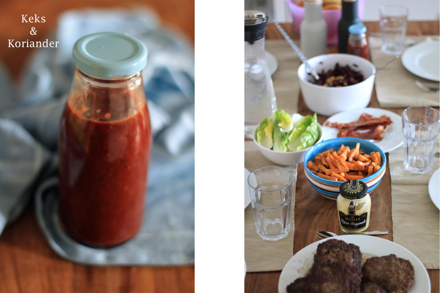 Burger mit Rotkohl und Erdbeerketchup Tisch Ketchup