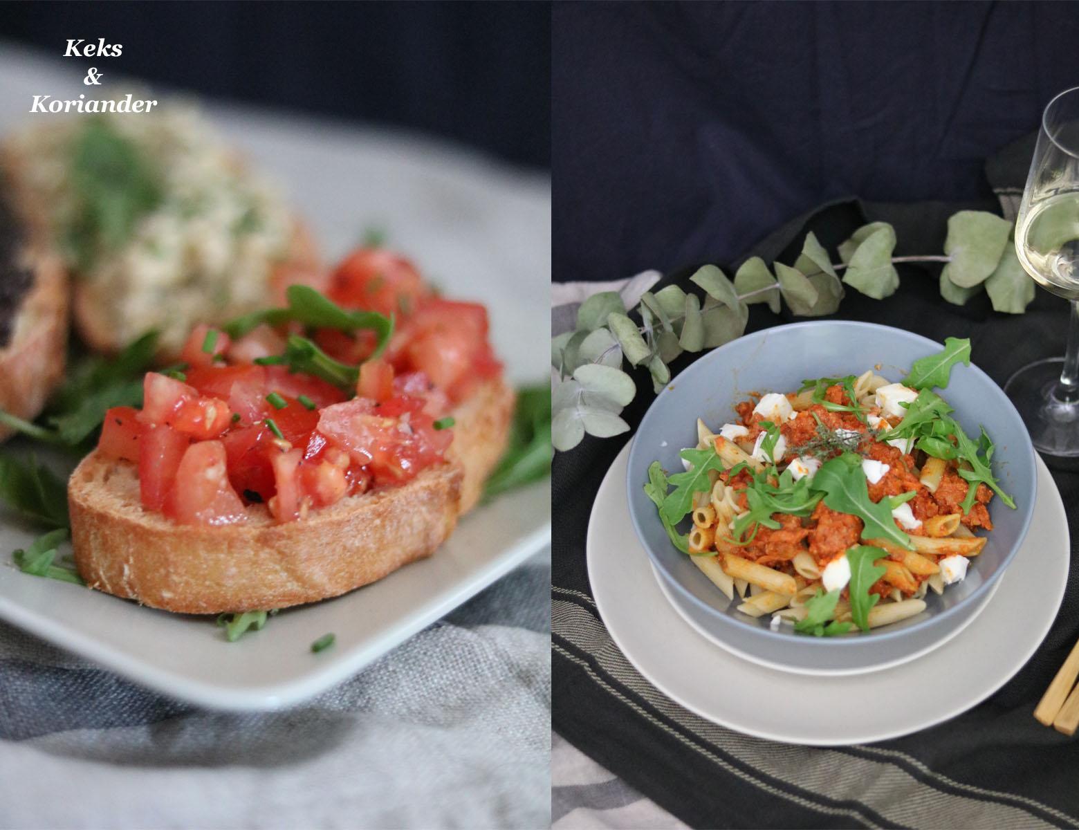 Bruschetta miste und Penne mit Salsiccia als italienisches Menü