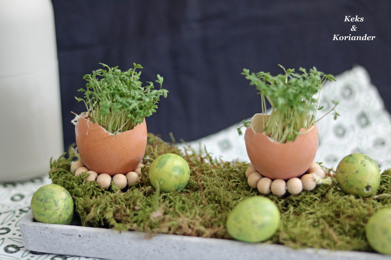 DIY Eierbecher mit Kresse Tischdeko
