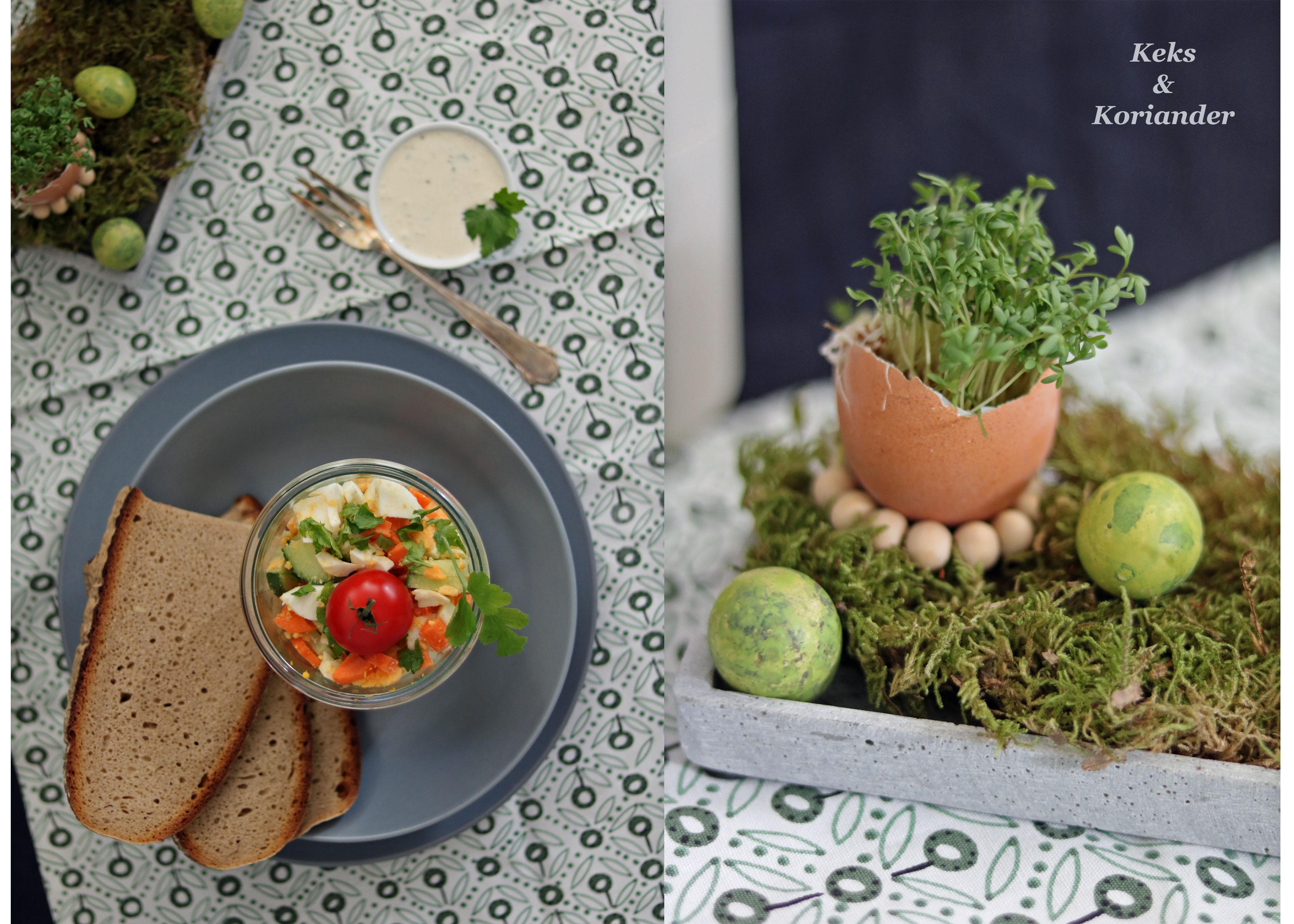 Eiersalat mit Karotten ohne Mayo zu Ostern mit DIY Tischdeko Kresse